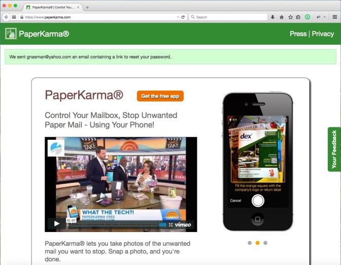 PaperKarma Website Displays Random User Email Notice